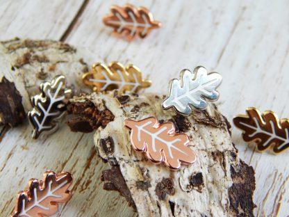 Mini leaf pins in gold copper and silver