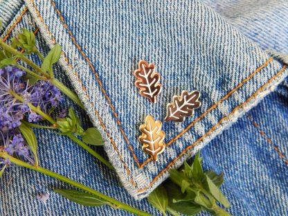 Oak leaf pins in use on a denim jacket