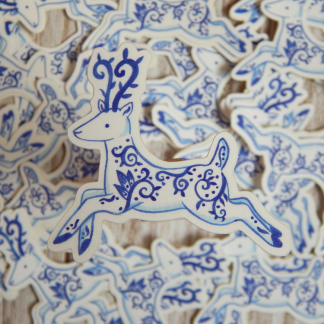delft porcelain deer vinyl sticker
