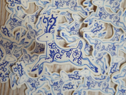 delft porcelain deer vinyl sticker