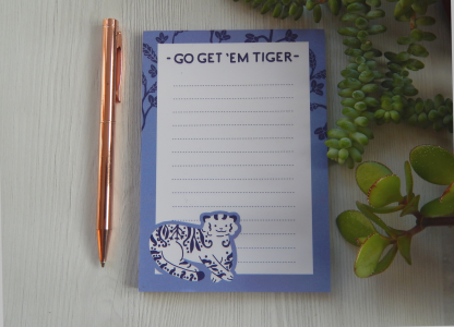 A6 Tiger Jotter Pads Cute Stationery UK