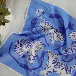 Delft Blue Tigers Porcelain Silk Square Scarf