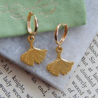 Gold Ginkgo Hoop Earrings